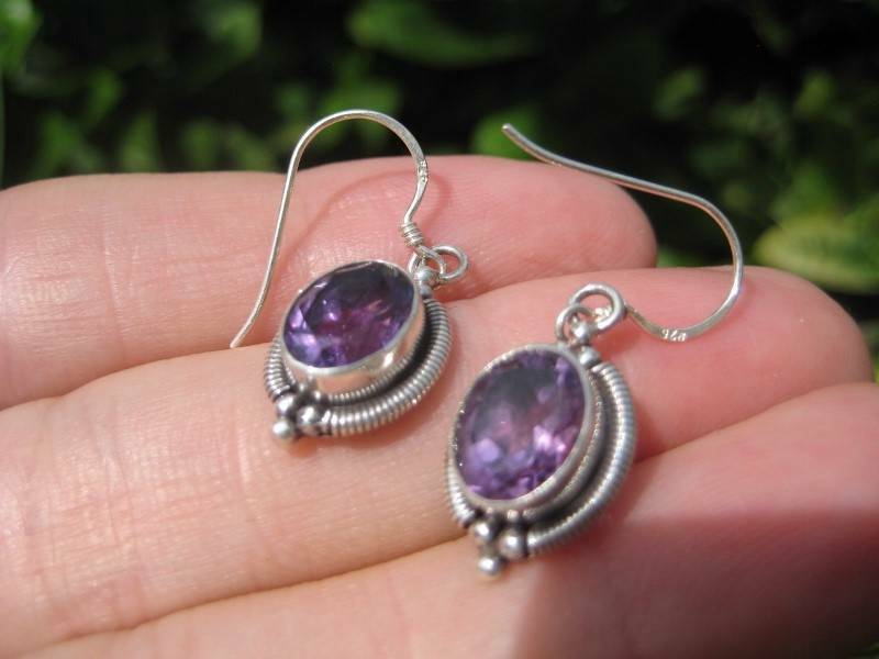 925 Silver Amethyst stone Earrings Earring jewelry Nepal himalayan N3877