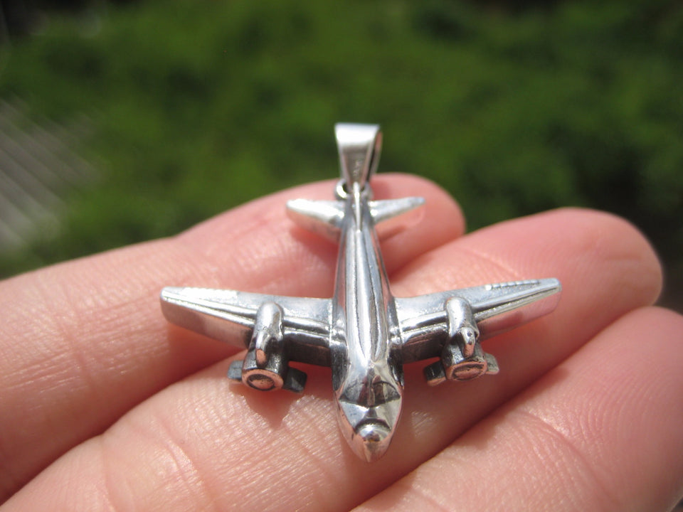 925 Silver Airplane Propeller Plane Pendant Necklace jewelry A16