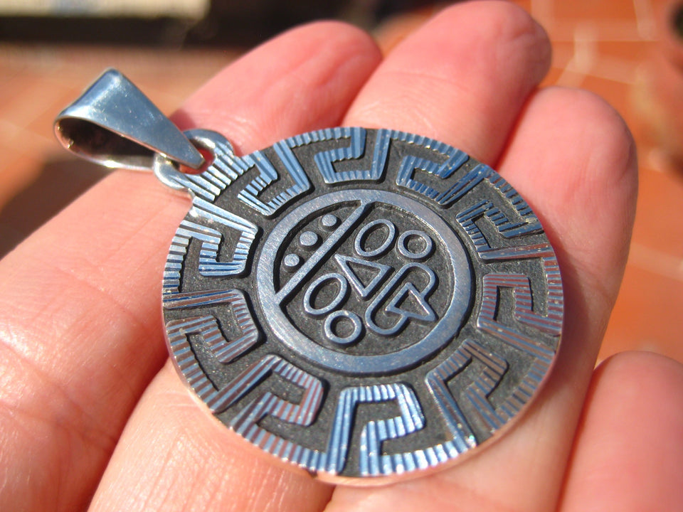 925 Silver Mayan Aztec God Pendant Necklace Taxco Mexico A3755