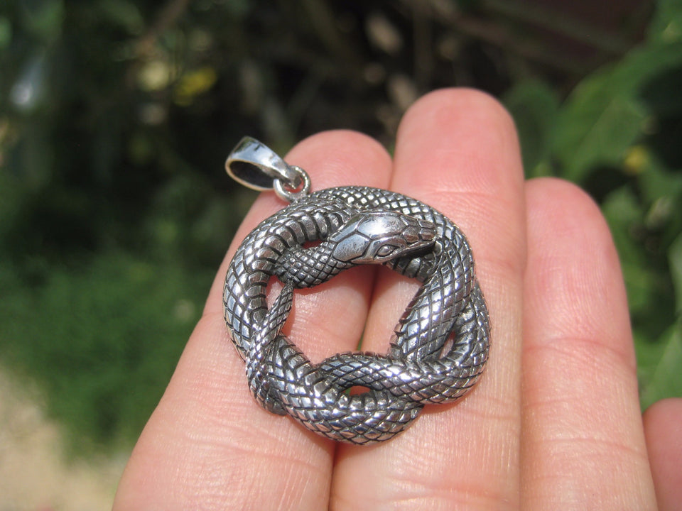 925 Silver Snake Pendant Necklace Thailand jewelry Art A7