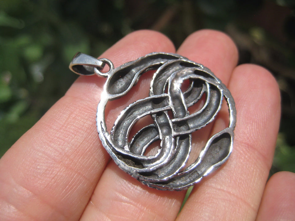 925 Silver Snake Pendant Necklace Thailand jewelry Art A5