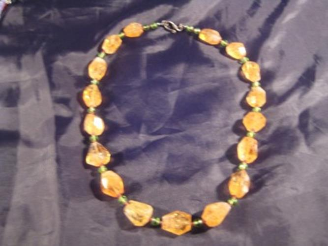 925 Silver Citrine peridot tourmaline crystal necklace Afghanistan N2744