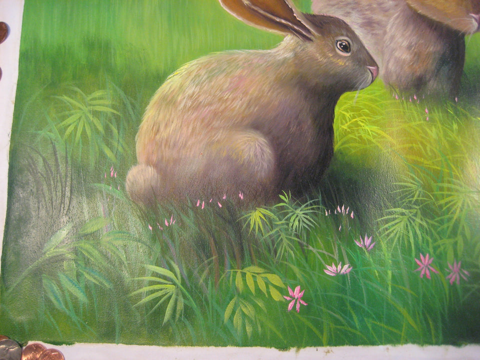 Hand Made Rabbit Hare Animal Oil Painting Cambodia Cambodian Art  A22