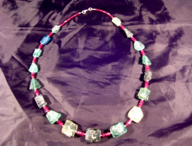 925 Silver Roman Glass Ruby Stone Bead Necklace Jewelry Afghanistan 1500 yr A264