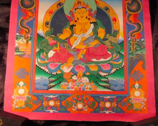 24 K Jambhala Deity Thangka Thanka Painting Nepal art dragon border N2355