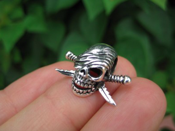 925 Sterling Silver Skull pirate pendant necklace jewelry art N244