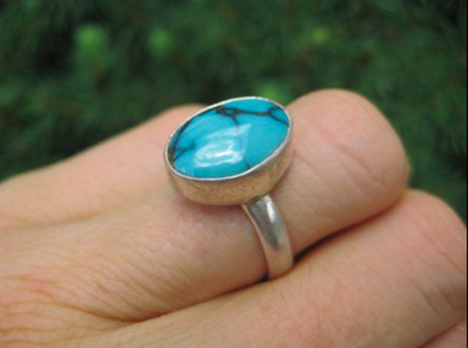 925 Silver Tibetan Turquoise Ring light Blue Size 8.5 AN2744