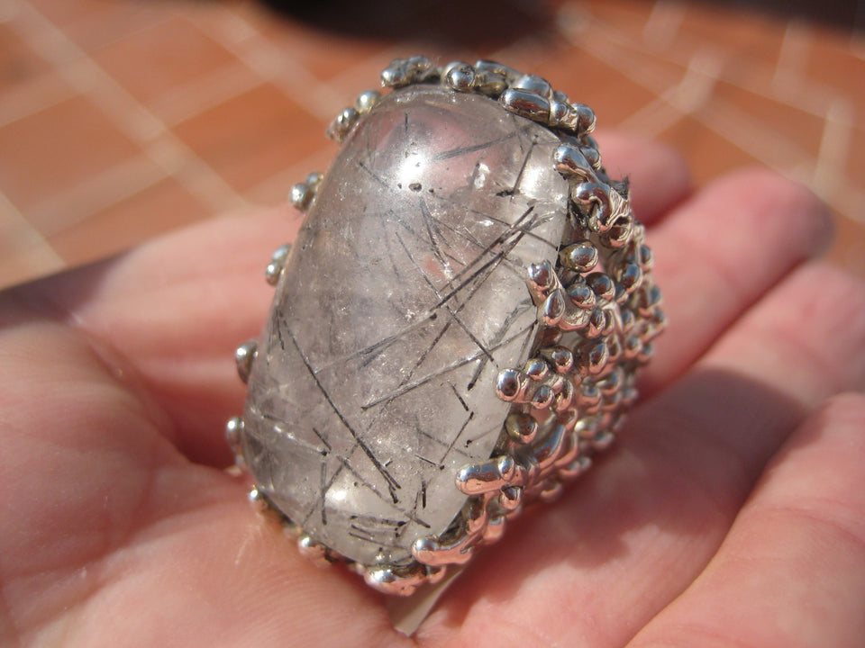 925 Silver Black Rutile Quartz  Ring Taxco Mexico Size 7.75 A8366