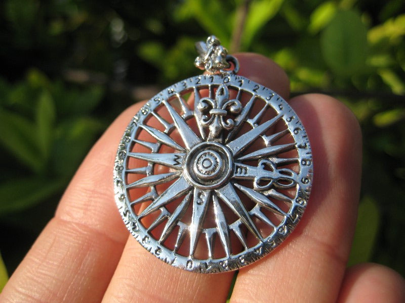 925 Silver compass pendant necklace
