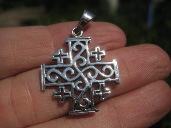 925 Silver Fivefold Templar Cross Crusaders Cross Pendant A20