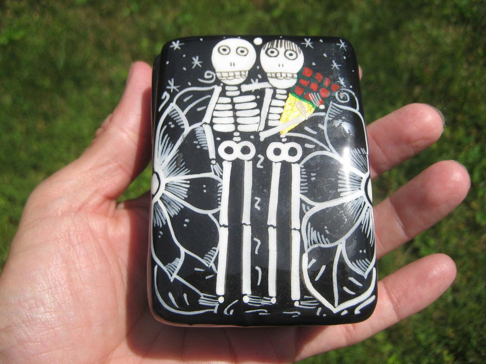 Ceramic Skeleton Jewelry Box Day of the Dead Taxco Mexico A8352