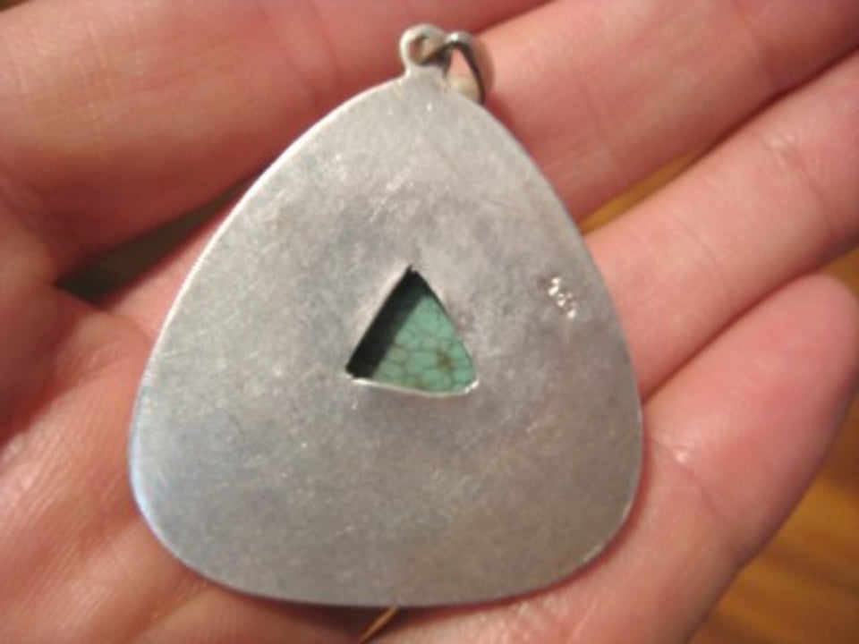 925 Silver Tibetan Turquoise pendant Nepal Jewelry A871