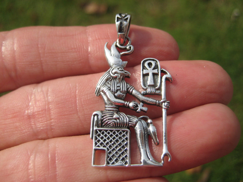 925 Silver Egyptian Bird God Horus God Deity Ankh Cross Pendant necklace A21