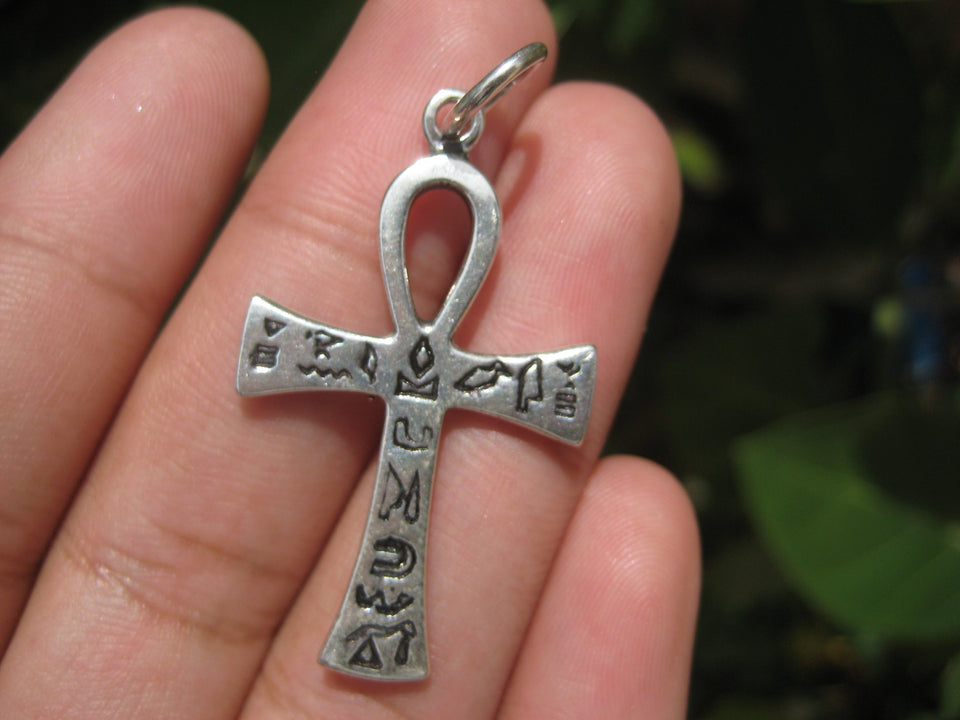 925 Silver Egyptian Ankh Cross Crux Ansata Pendant Necklace