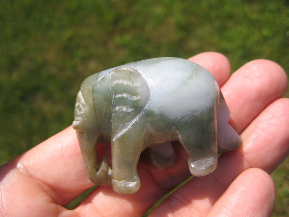 Natural Jadeite Jade Elephant Carving Statue Thailand Stone Mineral Art A22