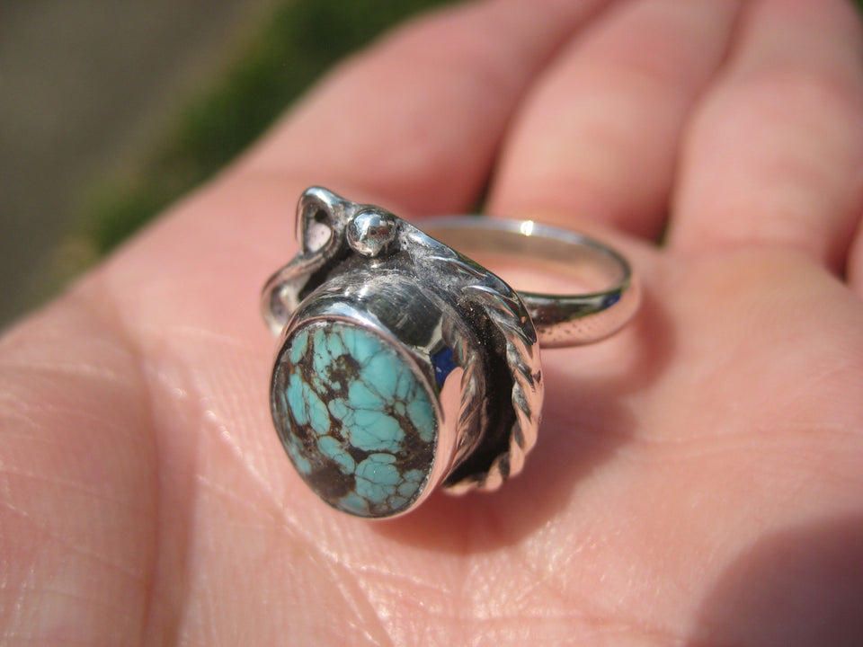 Natural Turquoise ring Taxco Mexico Size 6.75 Adjustable N2406