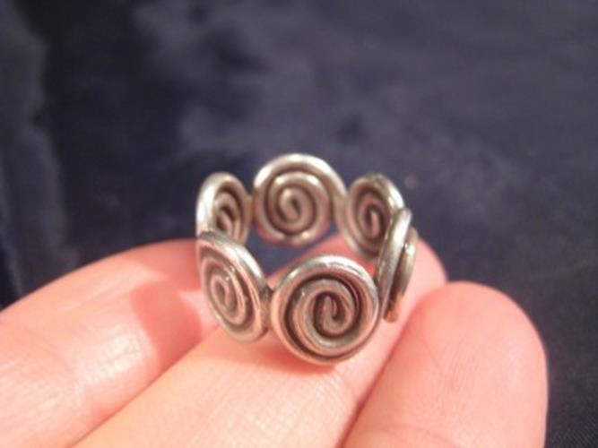 999 Silver Hill Tribe Ring northern Thailand jewelry art size 5 N3866