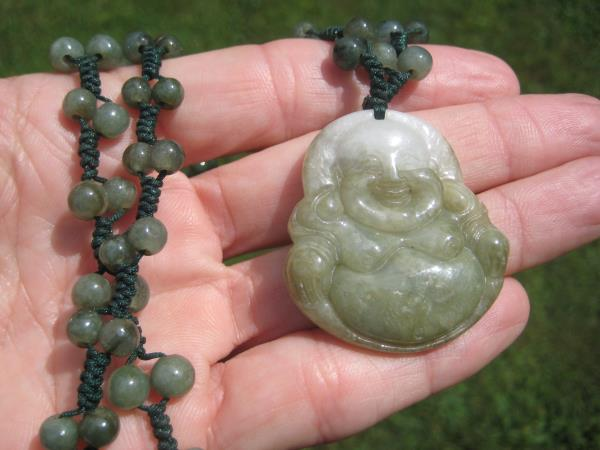 Natural Jadeite Jade Happy Buddha Pendant Necklace Amulet hanging EB394