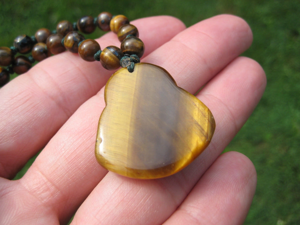 Happy Buddha Tiger Tigers Eye stone Pendant Necklace Thailand jewelry art A4298