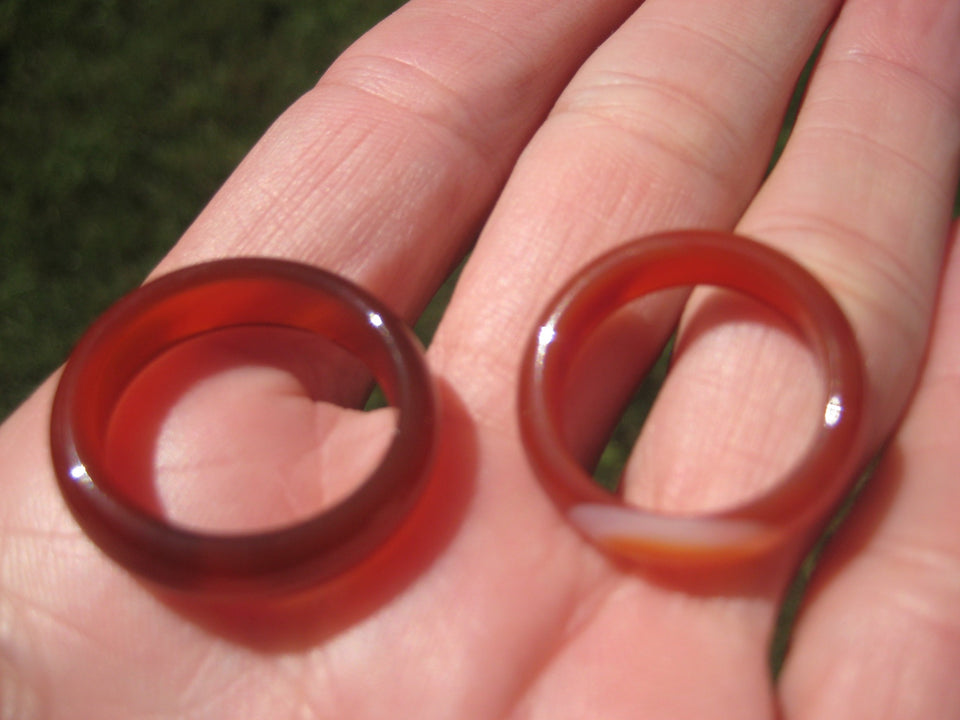 Natural Agate Carnelian Ring Northern Stone Mineral Size 6.5 and 7 US A5275