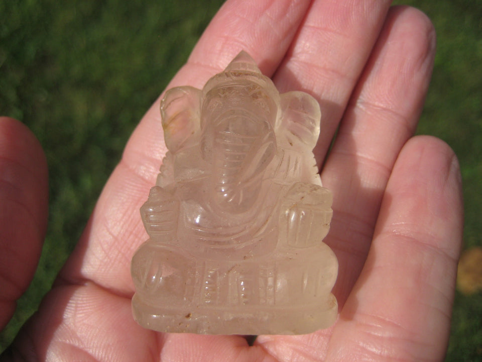 Natural Quartz Crystal Ganesh Ganesha Elephant God Statue A2862