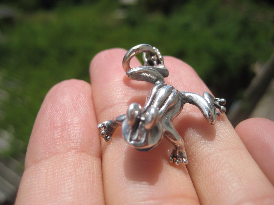 925 Silver Lucky Frog Pendant Necklace Jewelry Art Thailand A20
