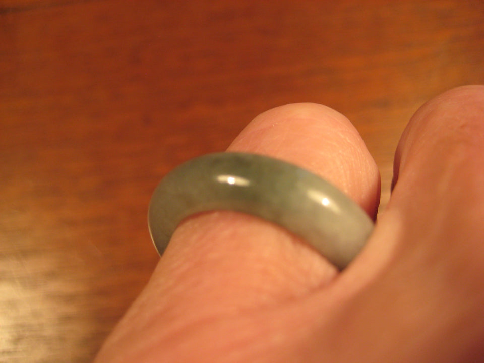Natural Green Jade Ring Myanmar Jewelry Art Size 7 US A438