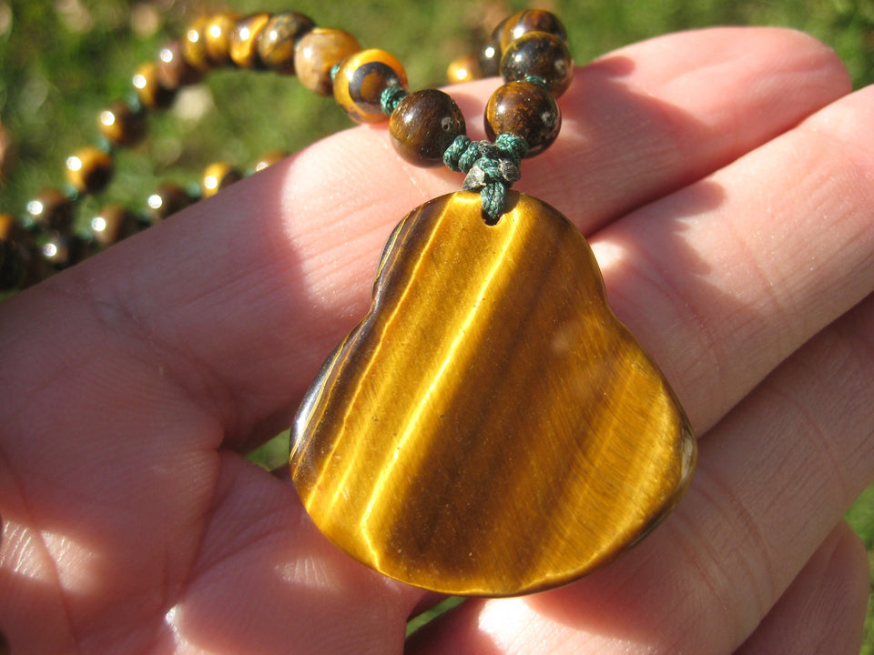 Happy Buddha Tiger Tigers Eye stone Pendant Necklace Thailand jewelry art A2735