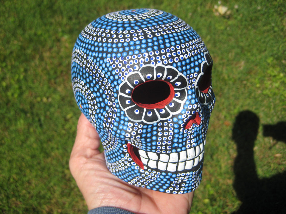 Ceramic Painted Skull Day of the Dead Taxco Mexico A552