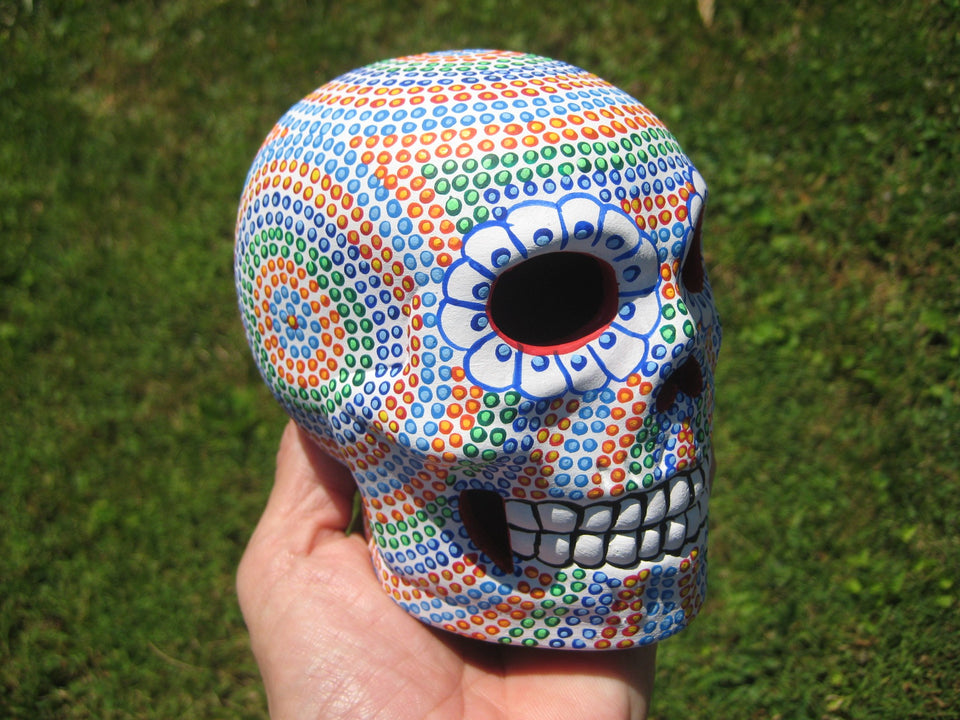 Ceramic Painted Skull Day of the Dead Taxco Mexico A563