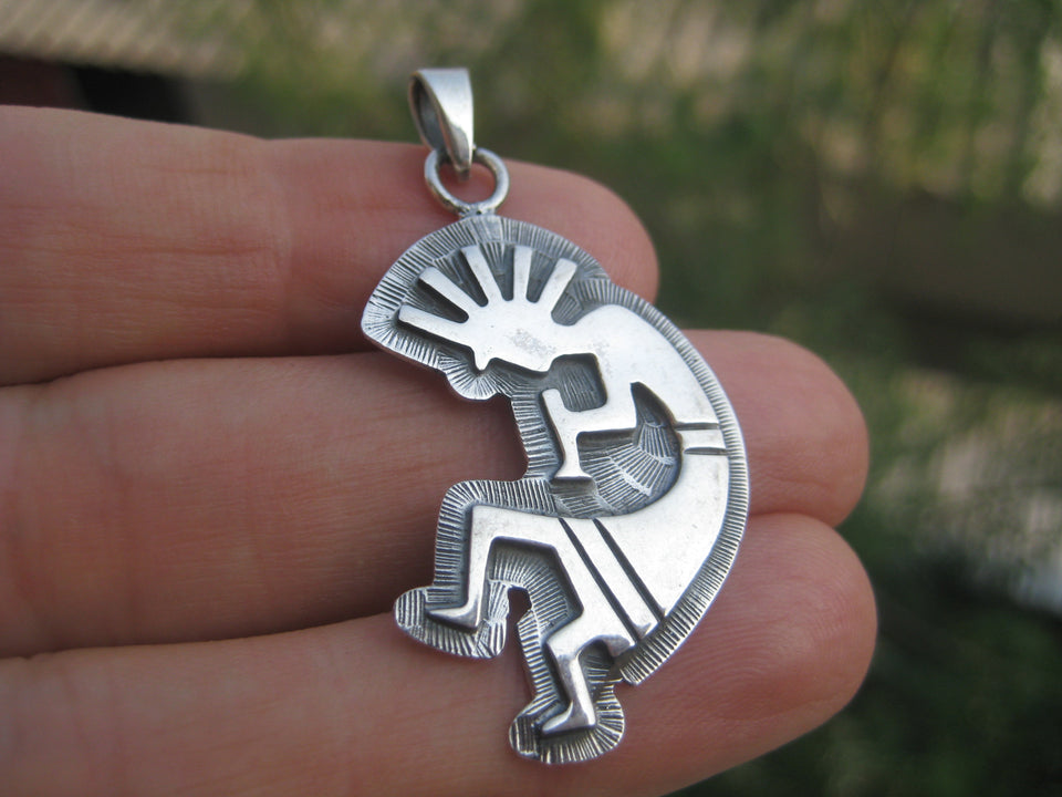 925 Silver Kokopelli Pendant Necklace Fertility God