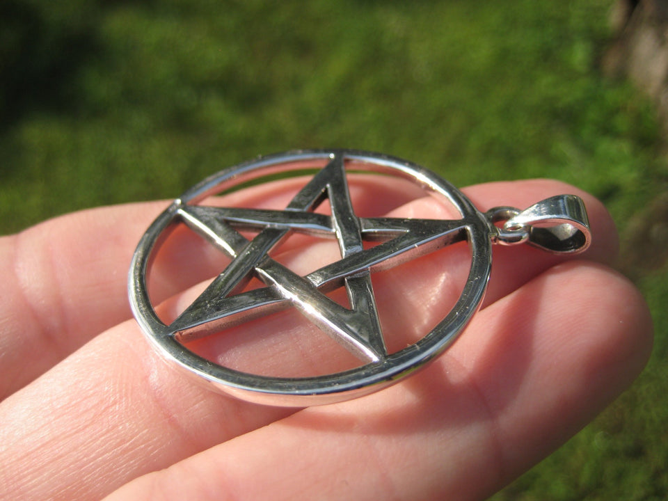 925 sterling silver Extra large wicca pentagram pendant necklace A17