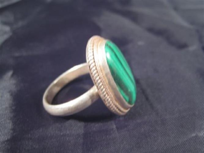 925 Silver natural Malachite ring nepal Size 9.25 N3966