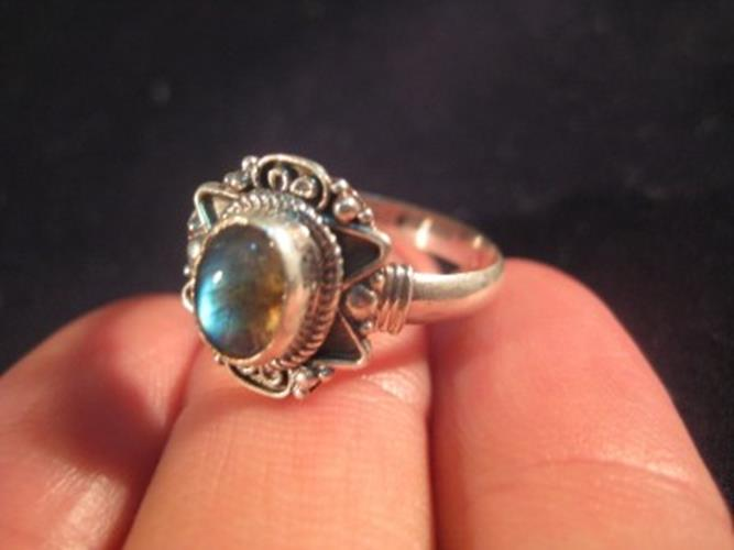925 Silver Labradorite crystal mineral stone Ring Nepal jewelry Size 8.5 N3854
