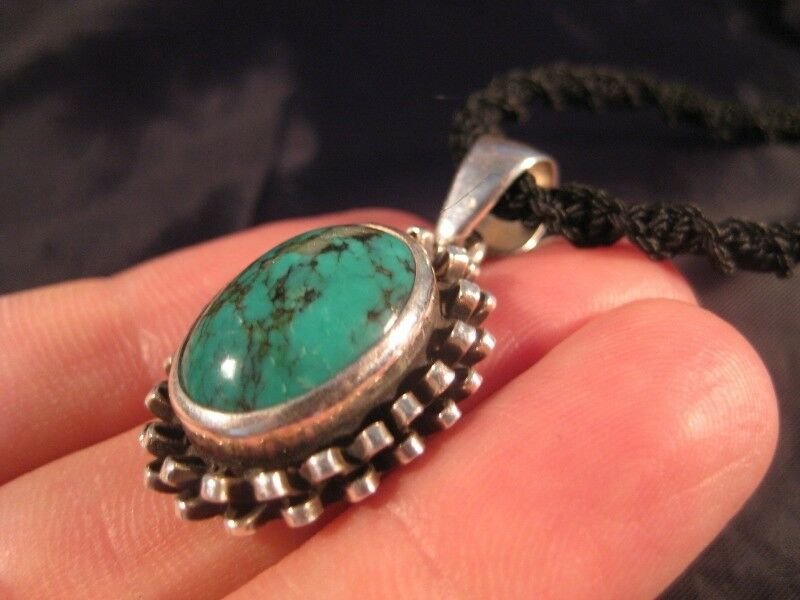 925 Silver Tibetan Turquoise stone crystal Pendant Necklace Nepal N3766