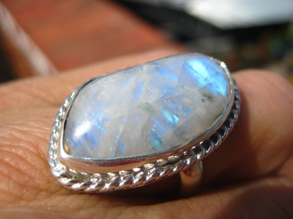 .925 Silve Moonstone Ring Taxco Mexico A8298