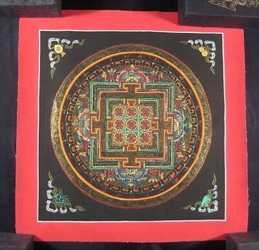 Small Mixed Gold Ohm Thangka Thanka Mandala Painting Nepal Himalayan Art N217