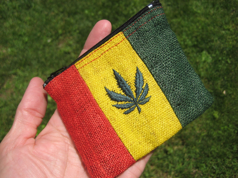Set 3 Hemp Marijuana Leaf Coin Purse Wallet Rasta Thailand A2715