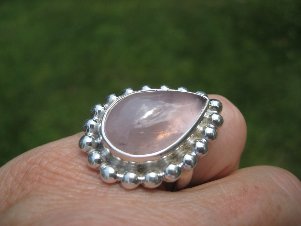 925 Silver Rose Quartz Ring Taxco Mexico Size 7 US Adjustable A3885