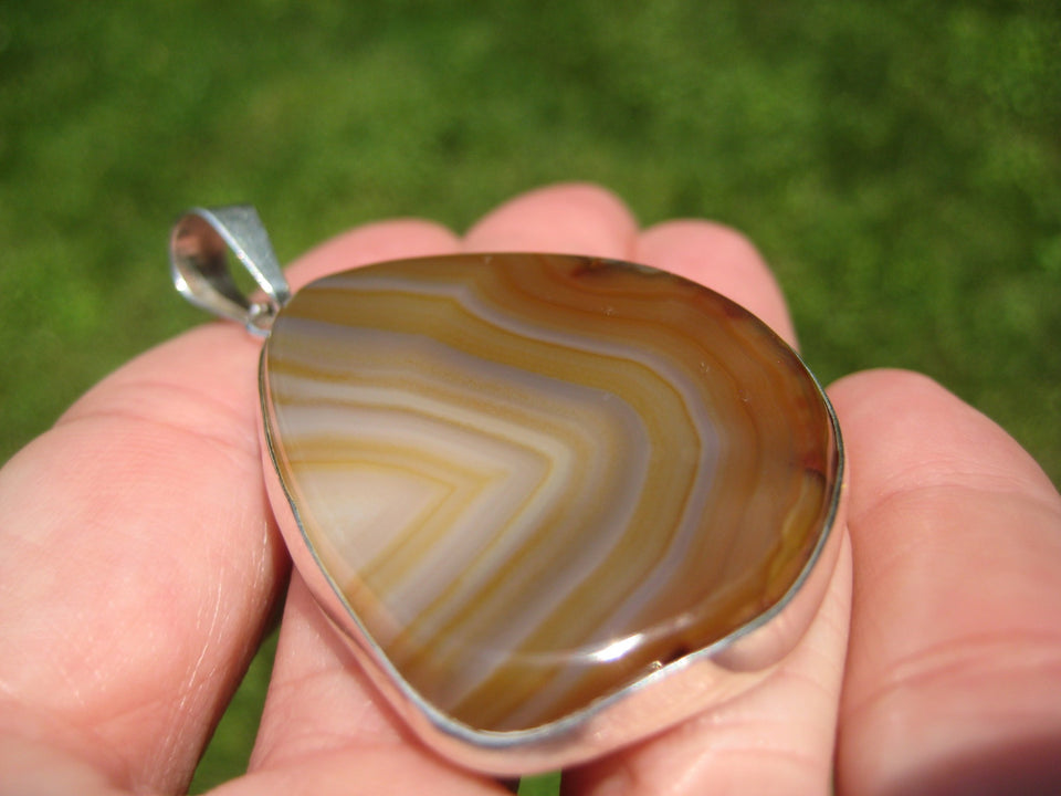 925 Silver Agate Stone Pendant Necklace Taxco Mexico A2599