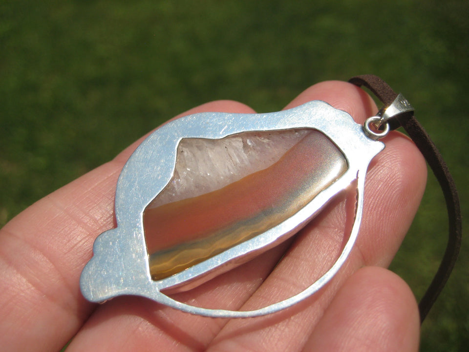 925 Silver Agate Stone Pendant Necklace Taxco Mexico A82677