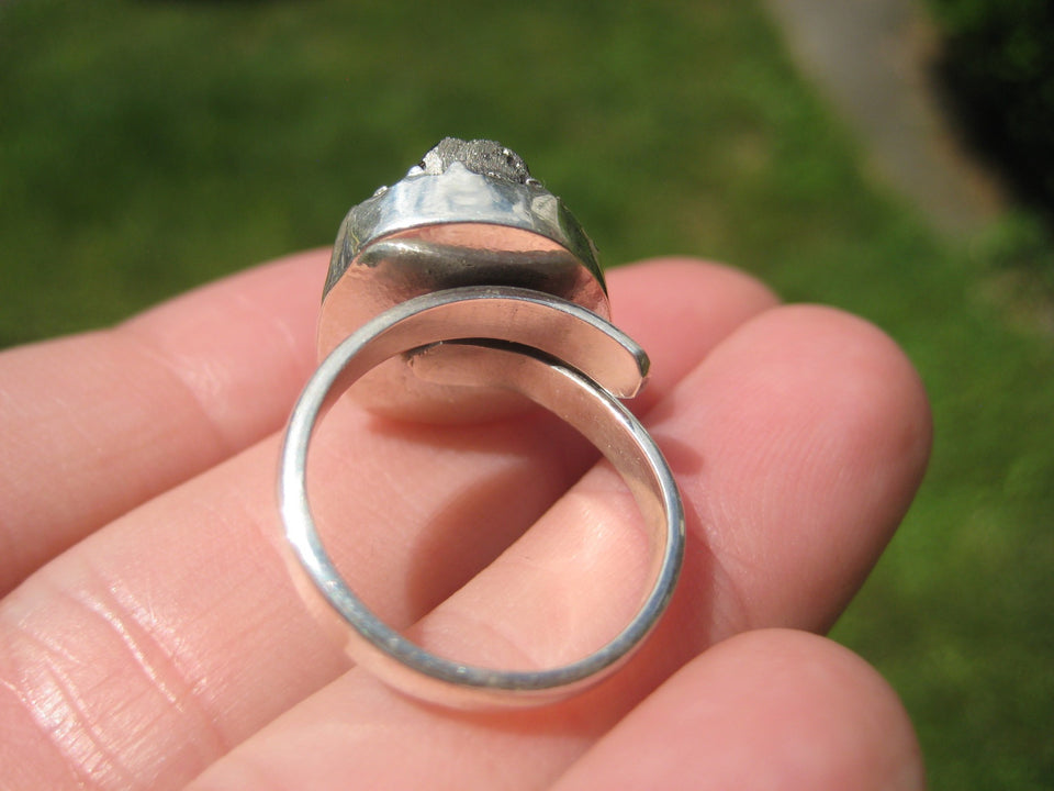 925 Silver Pyrite Stone Crystal Ring Taxco Mexico Size 6 US Adjustable A2322