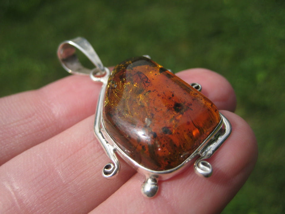 925 Silver Natural Chiapas Amber Pendant INecklace Taxco  A4211