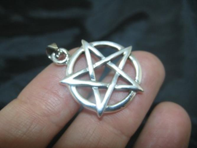 925 sterling silver wicca inverted pentagram pendant necklace N38665