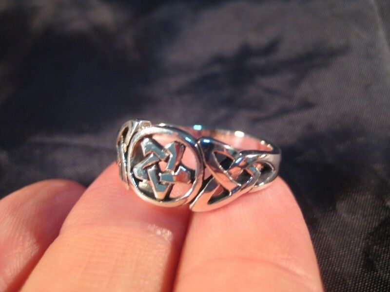 925 sterling silver pentagram wicca ring celtic style A37855