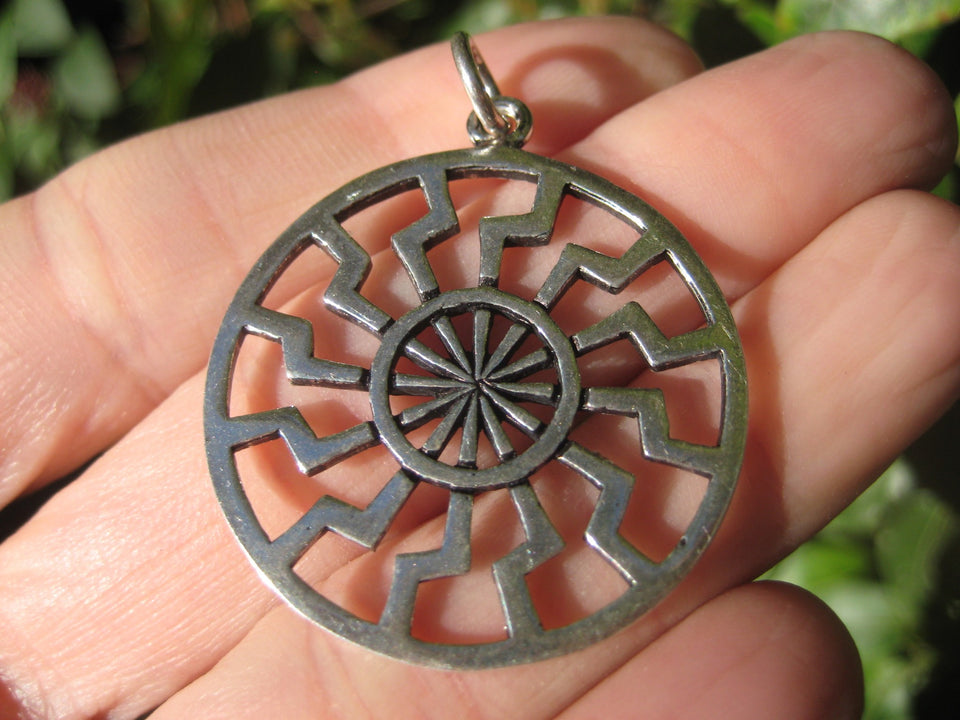 925 Silver Black Sun Wheel Sonnenrad Viking Germanic Pendant Necklace A312