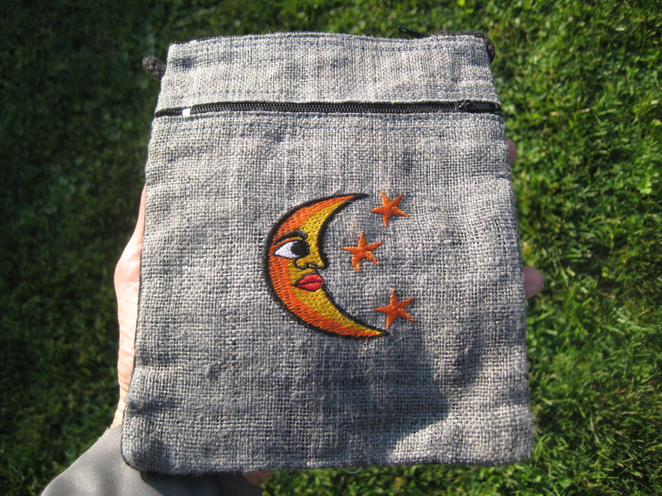 Hemp Moon and Stars Hand Bag Purse Thailand A4626