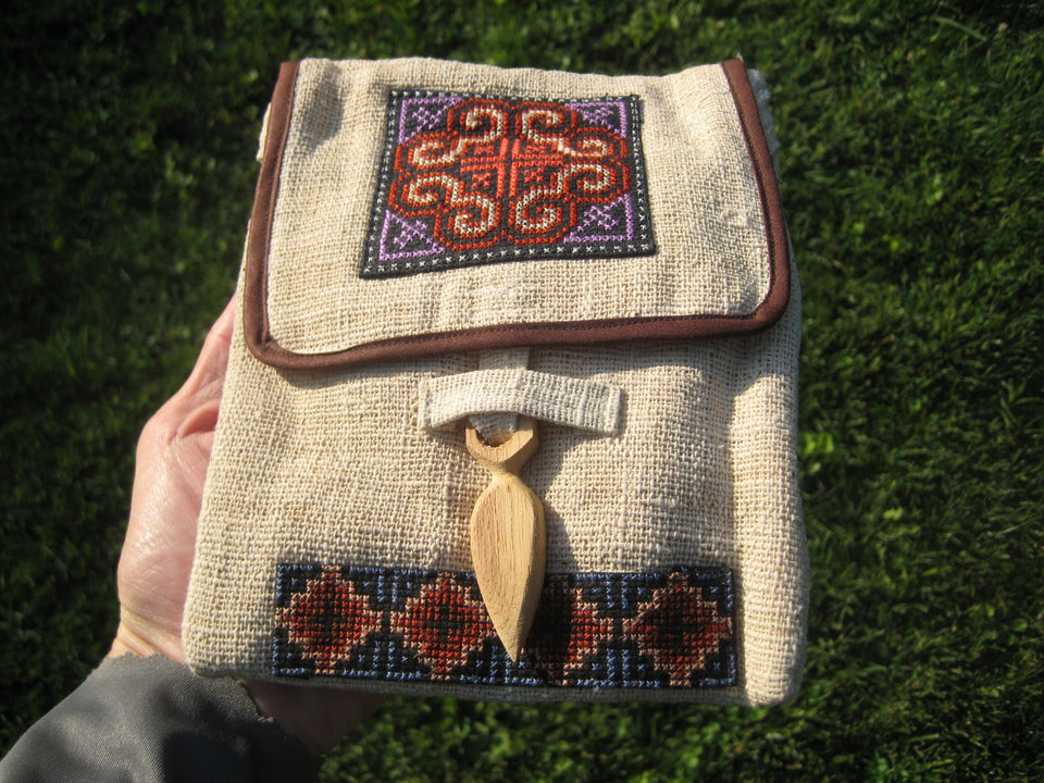 Hemp Indian Style  Embroidery  Hand Bag Purse Thailand A4673