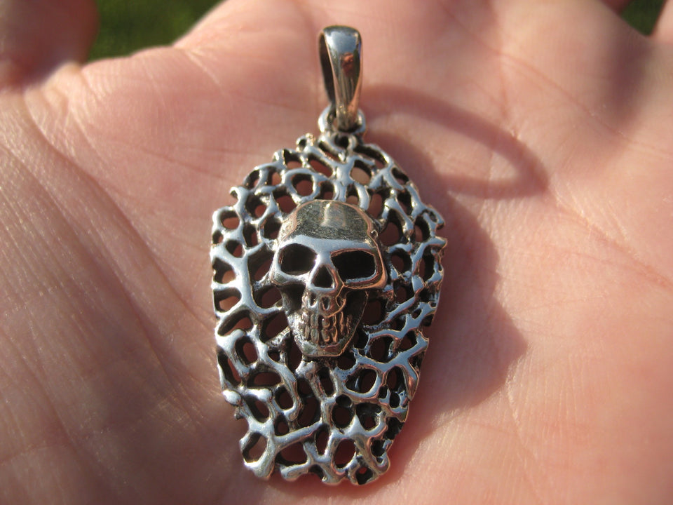 925 Silver Skull Pendant Necklace A2482