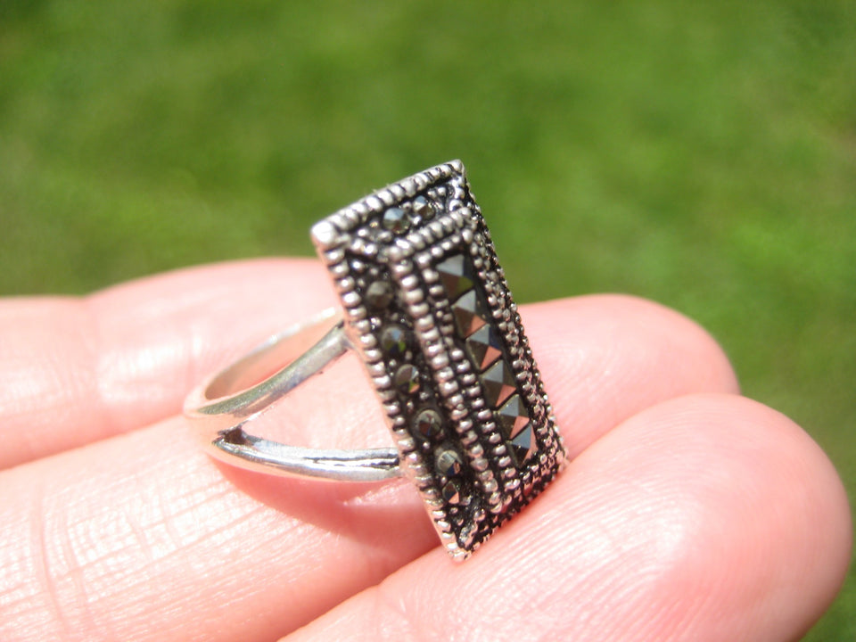 925 Silver Marcasite Stone Ring Taxco Mexico Size 6 US A8587